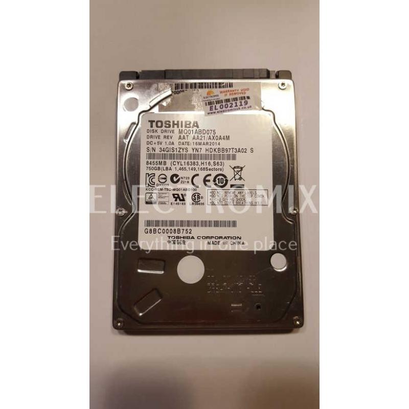 TOSHIBA HDD MQ01ABD075 AAT SATA 750GB EL2119 S4