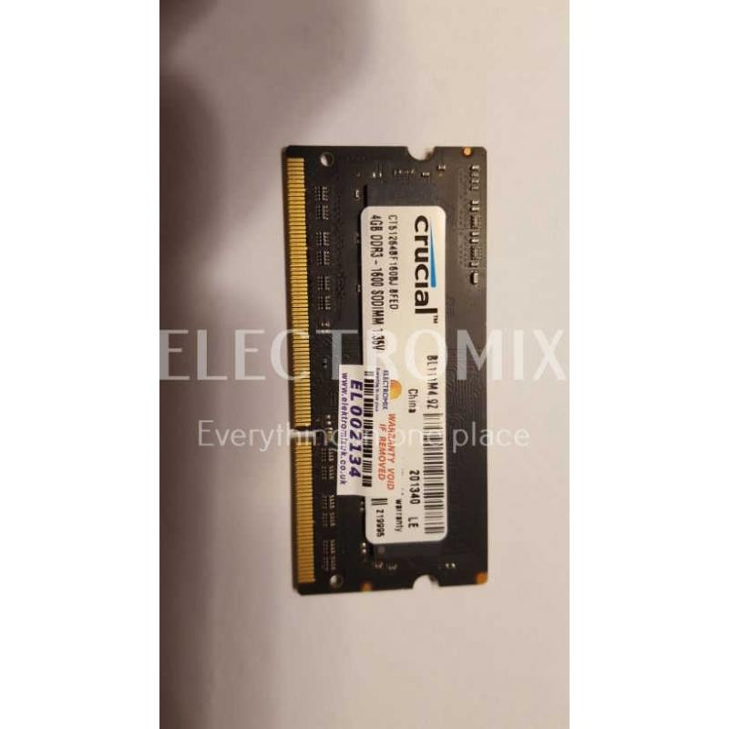 CRUCIAL 4GB DDR3-1600 SODIMM CT51264BF160BJ8FED EL2134 SM4